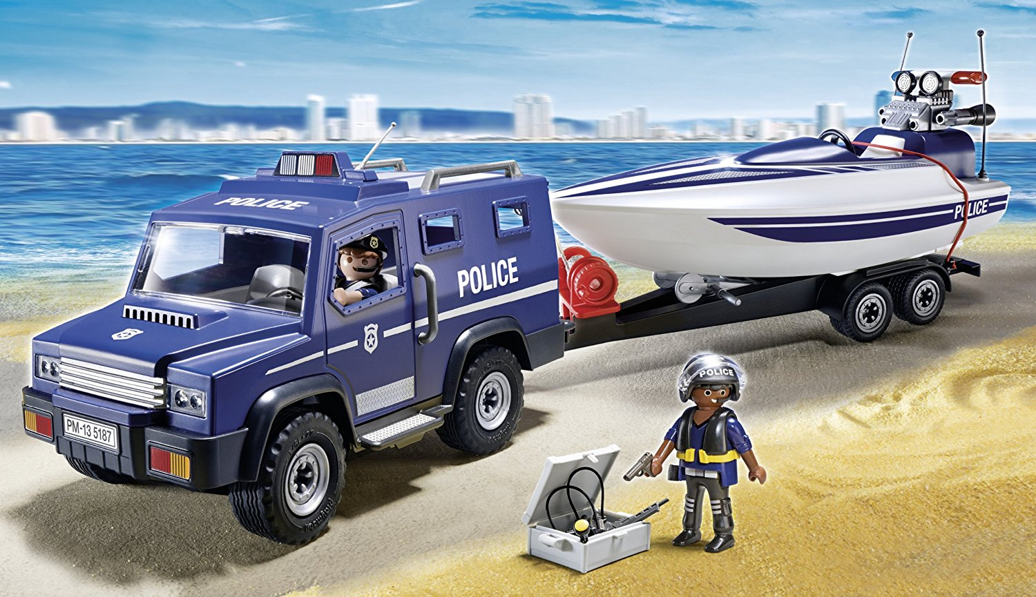 Fourgon et vedette de police Playmobil City Action 5187