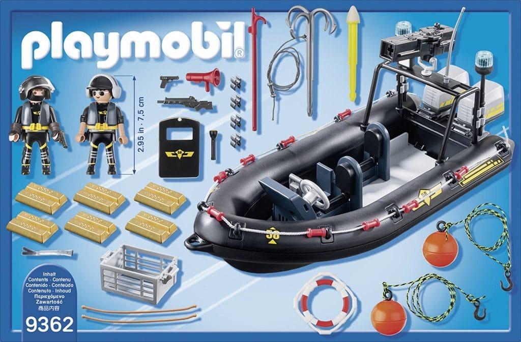 Bateau pneumatique et policiers d'élite Playmobil 9362